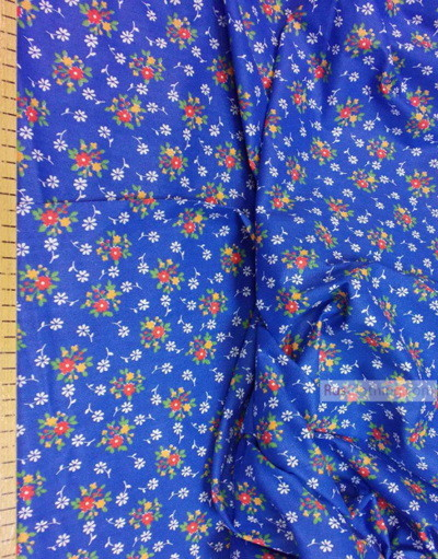 Floral cotton fabric by the yard ''Red On Blue''}