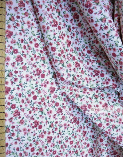 Floral cotton fabric by the yard ''Small Red Flowers On White''}