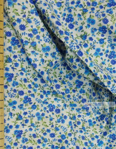 Floral cotton fabric by the yard ''Small Blue Flowers On White''}