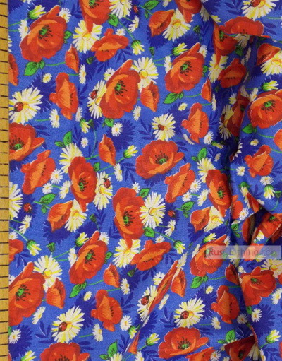 Tissu coton fleuri au metre ''Red Poppies On Blue''}