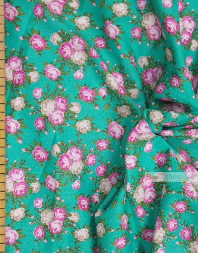 Floral cotton fabric by the yard ''Roses On Emerald''}