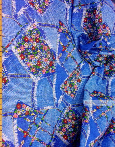 Vintage Fabric Prints by the yard ''Jeans, Flap''}