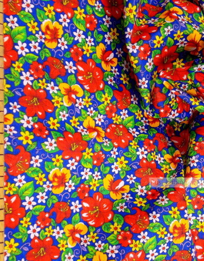 Tissu coton fleuri au metre ''Wild Flowers On Blue''}