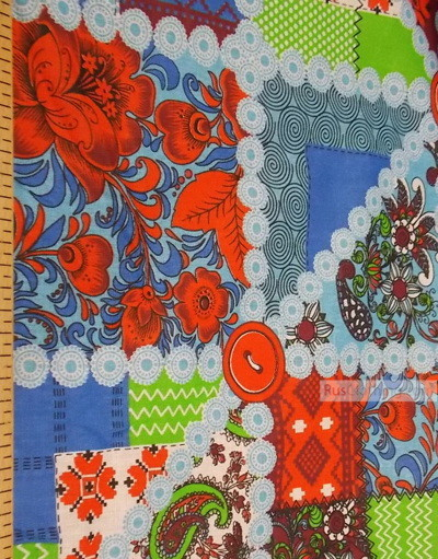 Folk Art Fabric by the yard ''Red/Blue Flap''}