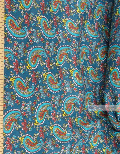 Fabric Folk Decorations by the yard ''Red Paisley On Turquoise''}