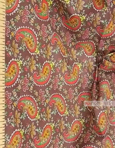 Paisley coton fabric by the yard ''Red Paisley On Brown''}