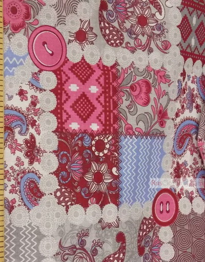 Folk Art Fabric by the yard ''Gray/Pink/Blue Flap''}