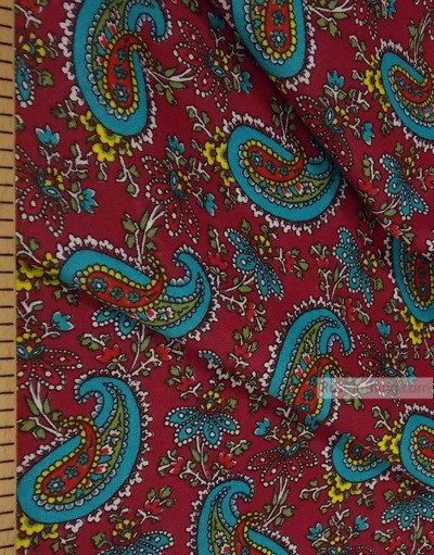 Paisley coton fabric by the yard ''Turquoise Paisley On Red''}