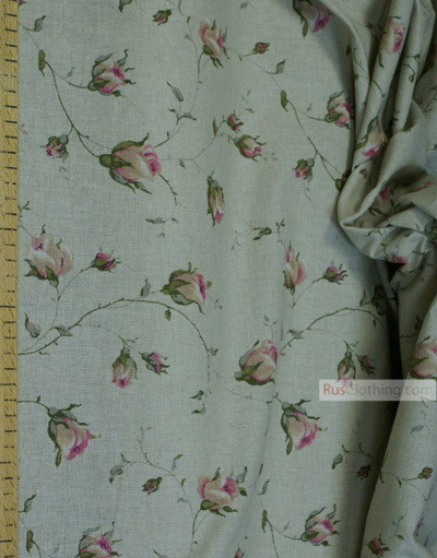 Floral cotton fabric by the yard ''Pink Roses On Gray''}