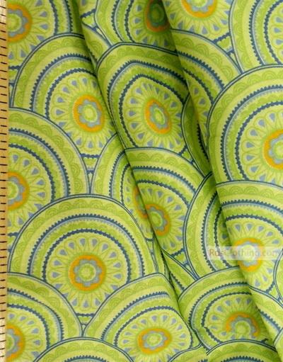 Geometric Print Fabric ''Green Circles''}