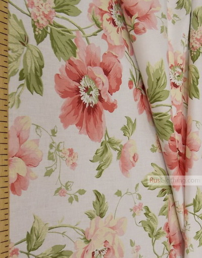 Floral cotton fabric by the yard ''Delicate Flowers On A White Field ''}