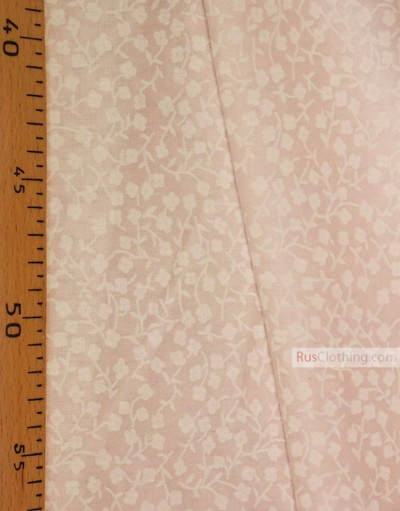 Floral cotton fabric by the yard ''Small White Flowers On Pale Pink''}