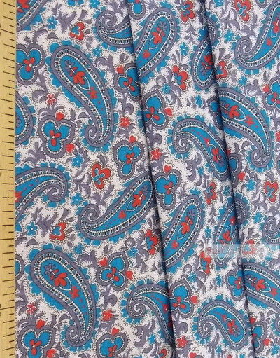 Paisley coton fabric by the yard ''Blue Paisley On White''}