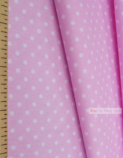 Cotton print fabric by the yard ''Small Polka Dots White Soft Pink''}
