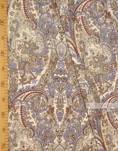 Paisley coton fabric by the yard ''Blue And Brown Oriental Pattern On Beige''}