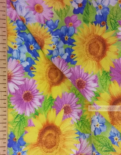 Russian Floral Fabric ''Sunflowers With Wildflowers, Pastel''}