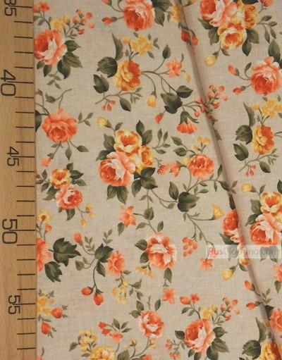 Floral cotton fabric by the yard ''Tea Rose On Light Gray''}