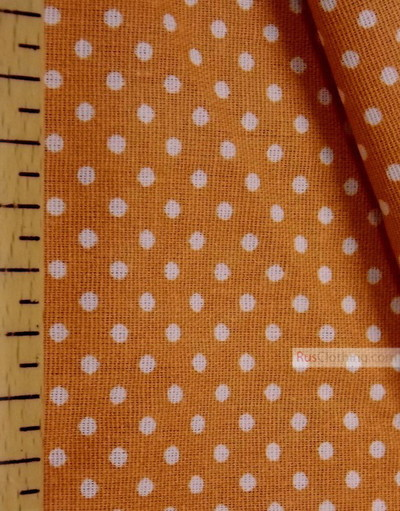 Tissu coton imprime au metre ''Little White Polka Dot On Terracotta''}