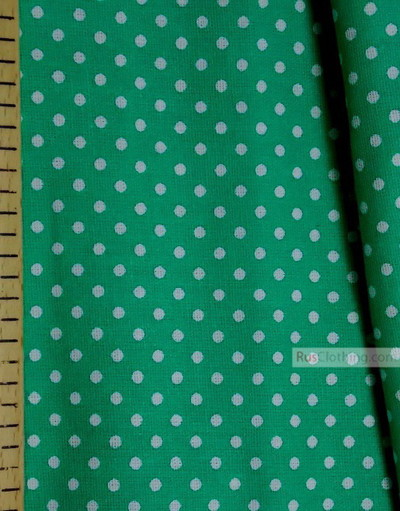 Tissu coton imprime au metre ''Little White Polka Dot On Emerald''}