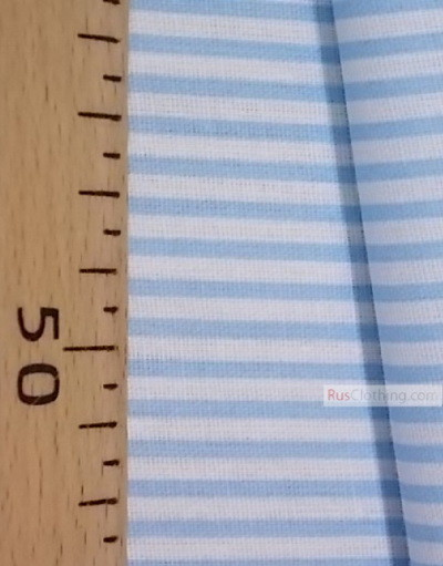 Geometric Print Fabric ''Narrow, White, Soft Blue Strip''}