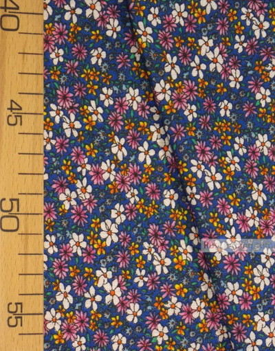 Floral cotton fabric by the yard ''Small Wildflowers On Blue''}