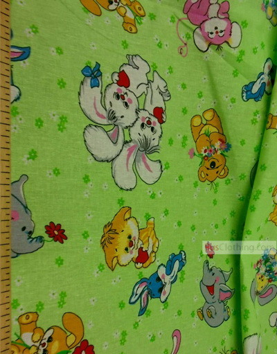 Nursery Print Fabric by the Yard ''Animals On The Green Lawn''}