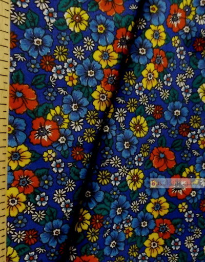 Floral cotton fabric by the yard ''Wildflowers On A Blue Field''}