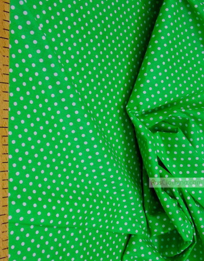 Cotton print fabric by the yard ''Little Peas, White On Green''}