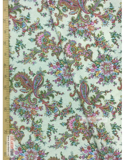 Tissu coton pasley au metre ''Paisley Red On Light Grey''}