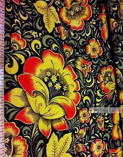 Russian Fabric Patterns ''Khokhloma On Black''}