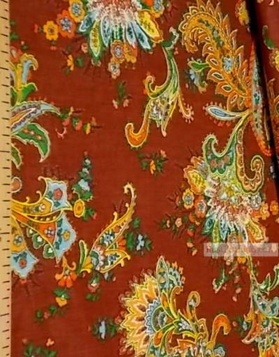 Tissu coton pasley au metre ''Paisley On Brown''}