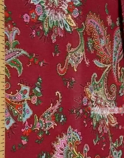 Paisley coton fabric by the yard ''Paisley On Burgundy''}