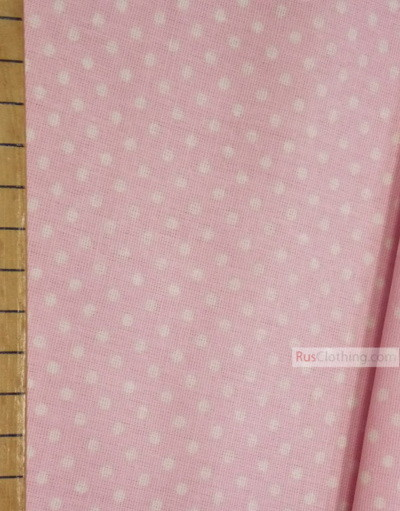 Vintage Fabric Prints by the yard ''Small White Polka Dots On Pale Pink''}