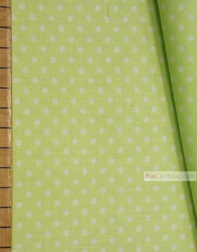 Vintage Fabric Prints by the yard ''Small White Polka Dots On Pale Green''}