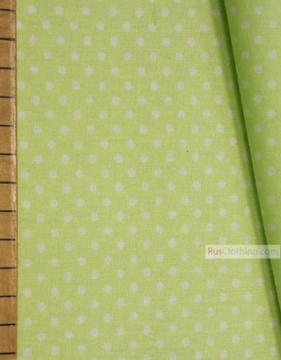 Tissu vintage au metre ''Small White Polka Dots On Pale Green''}