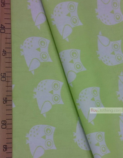 Baby Quilt Fabric by the Yard ''White Owls On The Salad''}