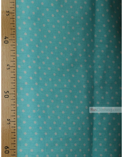 Tissu coton imprime au metre ''Little Peas, White On Pale Turquoise''}