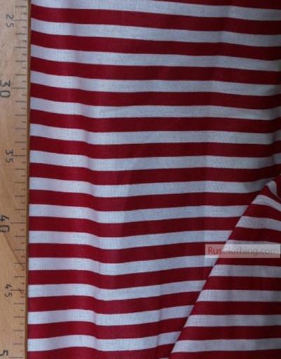 Geometric Print Fabric ''White And Burgundy Strip''}