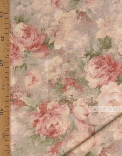 Floral cotton fabric by the yard Ткань, ''Watercolor''}