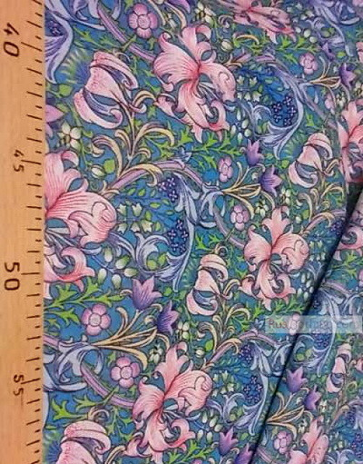 Floral cotton fabric by the yard ''Pink Lilies And Blue Bells''}