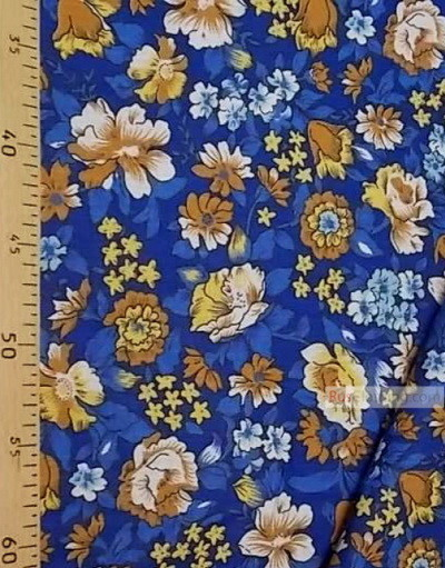 Floral cotton fabric by the yard ''Beige Flowers On Blue''}