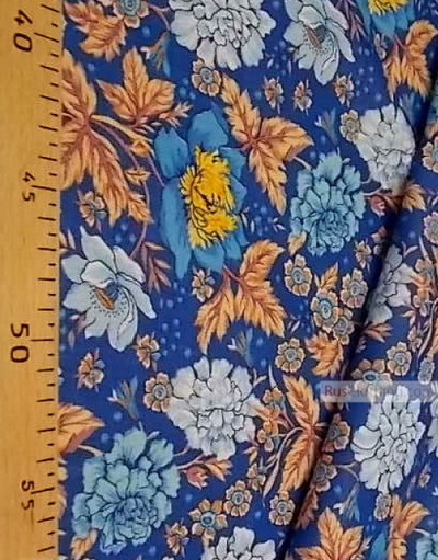 Floral cotton fabric by the yard ''Winter Carnation''}