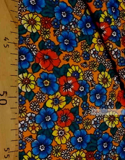 Floral cotton fabric by the yard ''Wild Flowers On The Orange Box''}