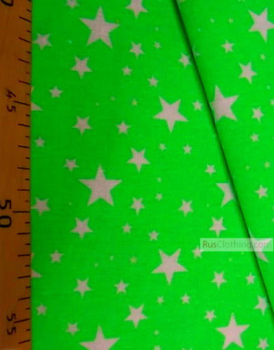 Baby fabric by the Yard ''White Stars On Bright Light Green''}