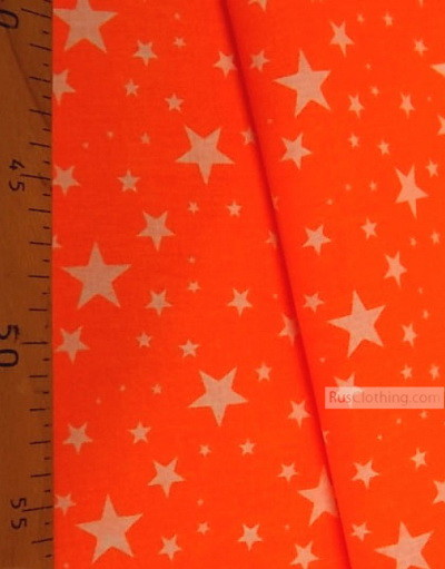 Nursery Print Fabric by the Yard ''White Stars On Bright Orange (Ultra)''}