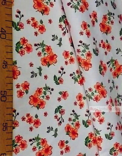 Tissu coton fleuri au metre ''Red Flowers On White''}