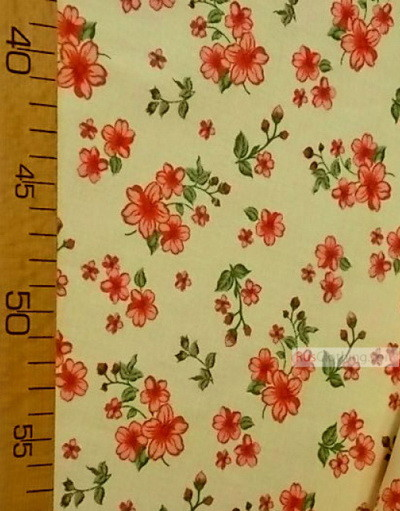 Floral cotton fabric by the yard ''Red Flowers On Cream''}