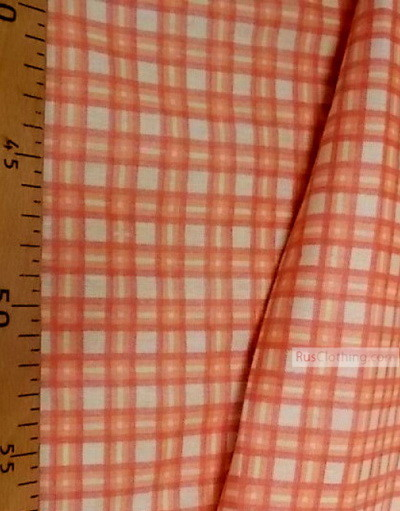 Geometric Print Fabric ''Orange Plaid''}