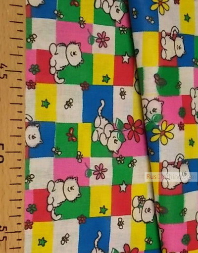 Childrens Fabric by the Yard ''White Cats On Bright Squares''}