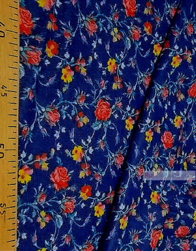 Floral cotton fabric by the yard ''Roses On Jeans''}